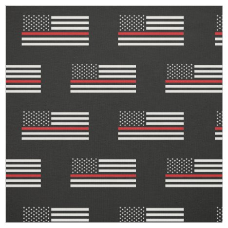 Patriotic Firefighter Style American Flag Fabric
