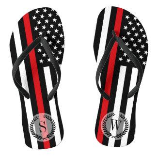 Patriotic Firefighter Style American Flag Flip Flops