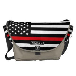 Patriotic Firefighter Style American Flag Messenger Bag