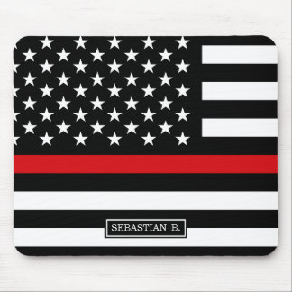 Patriotic Firefighter Style American Flag Mouse Pad