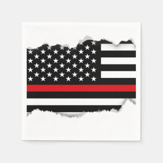 Patriotic Firefighter Style American Flag Paper Napkin