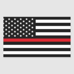 Patriotic Firefighter Style American Flag Rectangular Sticker