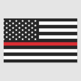 Patriotic Firefighter Style American Flag Rectangular Sticker