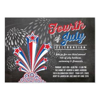 Patriotic Fireworks 4th of July BBQ Party Invite