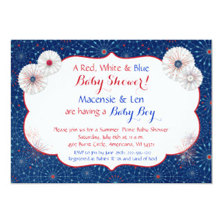 Patriotic Fireworks Baby Shower Invitations