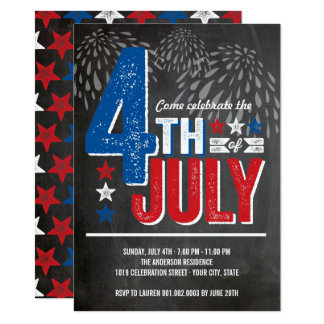 Patriotic Fireworks Fourth of July Party Invite