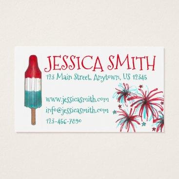 USA Themed Patriotic Fireworks Rocket Pop Popsicle USA July 4 Business Card