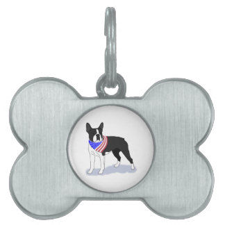 Patriotic Flag Bandana Boston Terrier Pet ID Tag