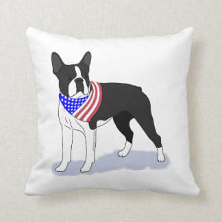 Patriotic Flag Bandana Boston Terrier Pick A Color Throw Pillow