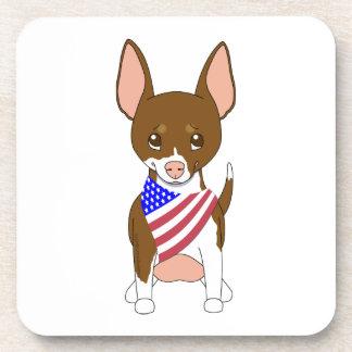 Patriotic Flag Bandana Chihuahua 6 Drink Coaster