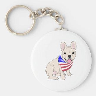 Patriotic Flag Bandana French Bulldog Basic Round Button Keychain