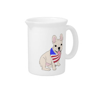 Patriotic Flag Bandana French Bulldog Beverage Pitchers