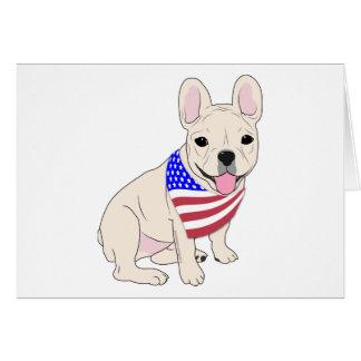 Patriotic Flag Bandana French Bulldog Card