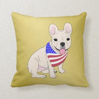 Patriotic Flag Bandana French Bulldog Faux Gold Pillow