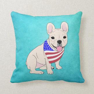 Patriotic Flag Bandana French Bulldog Pillow