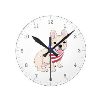 Patriotic Flag Bandana French Bulldog Round Clock