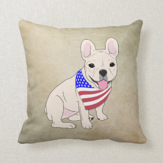 Patriotic Flag Bandana French Bulldog Throw Pillow