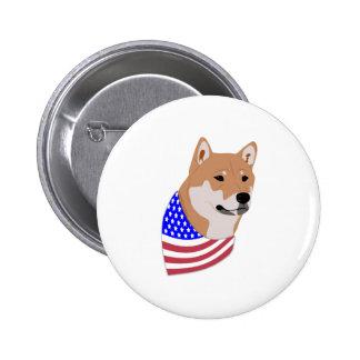 Patriotic Flag Bandana Shiba Inu Pinback Button