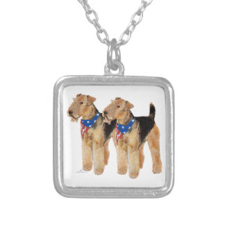 Patriotic Flag Duo Silver Plated Necklace