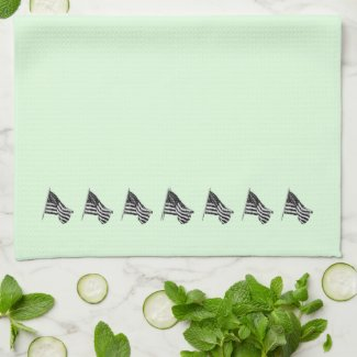 Patriotic Flag Green Kitchen Towels