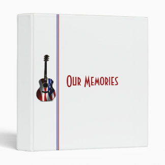 Patriotic Flag Guitar Memorial Day Vinyl Binders