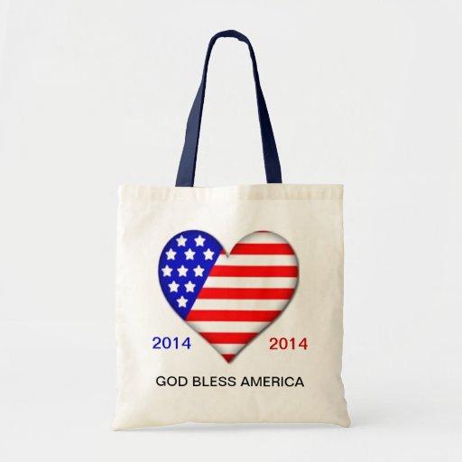Patriotic Flag Heart Tote Bag TEMPLATE
