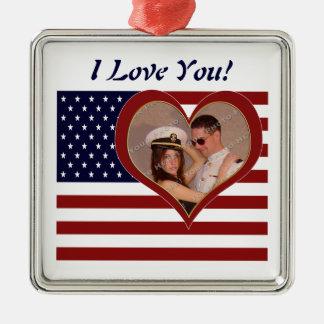 Patriotic Flag I Love You - Your Photo Ornamenent Metal Ornament