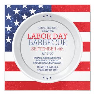 Patriotic Flag Labor Day Summer Barbecue Party 5.25x5.25 Square Paper Invitation Card