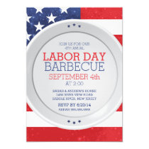 Patriotic Flag Labor Day Summer Barbecue Party Invitation