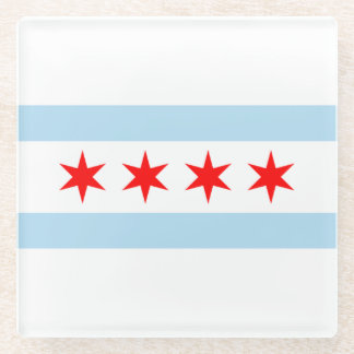 Patriotic Flag of Chicago Stars and Stripes Glass Coaster