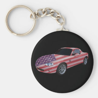 Patriotic flag painted car basic round button keychain