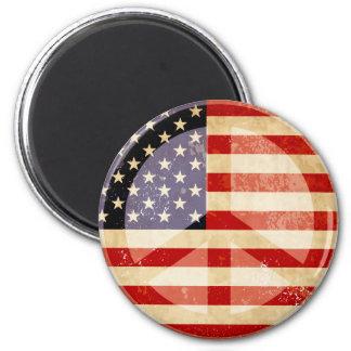 Patriotic Flag Peace Sign 2 Inch Round Magnet