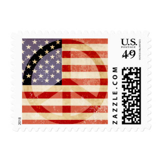 Patriotic Flag Peace Sign Postage Stamp