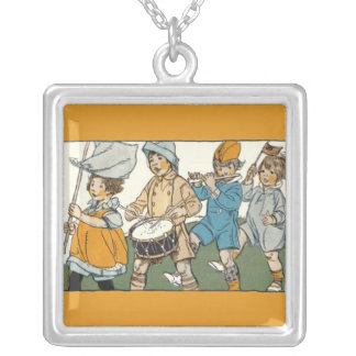 Patriotic Flags Independence Day Parade Silver Plated Necklace