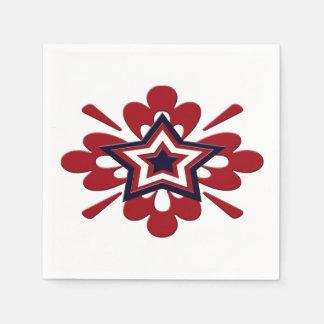 Patriotic Floral Star Napkin