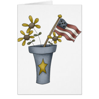 Patriotic Flowers and Flag Card
