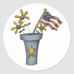 Patriotic Flowers and Flag Classic Round Sticker