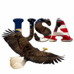 Patriotic Flying Bald Eagle & Flag Sculpted Gift Statuette