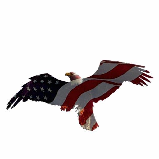 Patriotic Flying Bald Eagle & Flag Sculpted Magnet Cut Outs