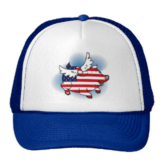Patriotic Flying Pig Trucker Hat