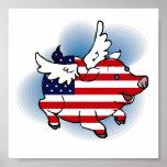 Patriotic Flying Pig(s) Poster