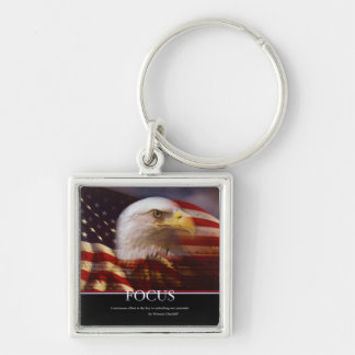 Patriotic-Focus Patriotic (multiple products} Silver-Colored Square Keychain