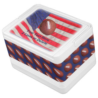 Patriotic Football Igloo Cooler, American Flag Cooler