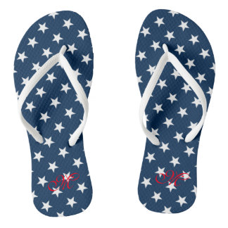 Patriotic fourth 4th of July party flip flops