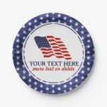 Patriotic Fourth of July American USA Flag Custom Paper Plate