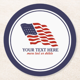 Patriotic Fourth of July American USA Flag Custom Round Paper Coaster