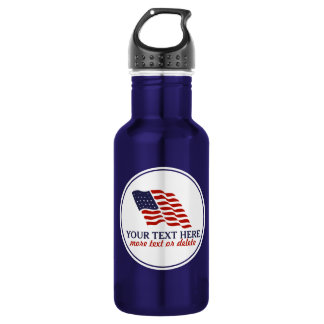 Patriotic Fourth of July American USA Flag Custom Stainless Steel Water Bottle