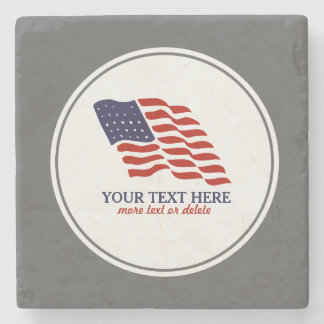 Patriotic Fourth of July American USA Flag Custom Stone Coaster