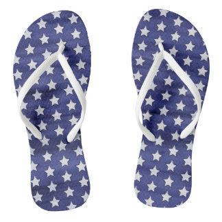 Patriotic Fourth of July American USA Stars Flip Flops