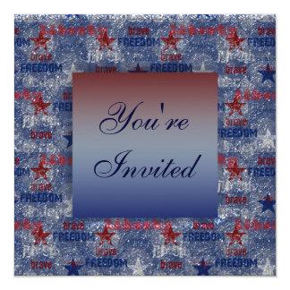 Patriotic Freedom Brave & Liberty July 4th Invites